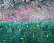 Firefly Marsh. Acrylic and mica flakes on canvas, 2017.