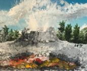 Castle Geyser. Acrylic on canvas, 2017.