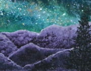 Night in the Mountians. Acrylic on canvas, 2016.