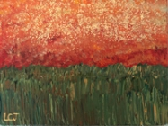 Orange Marsh. Acrylic and mica flakes on canvas, 2016.